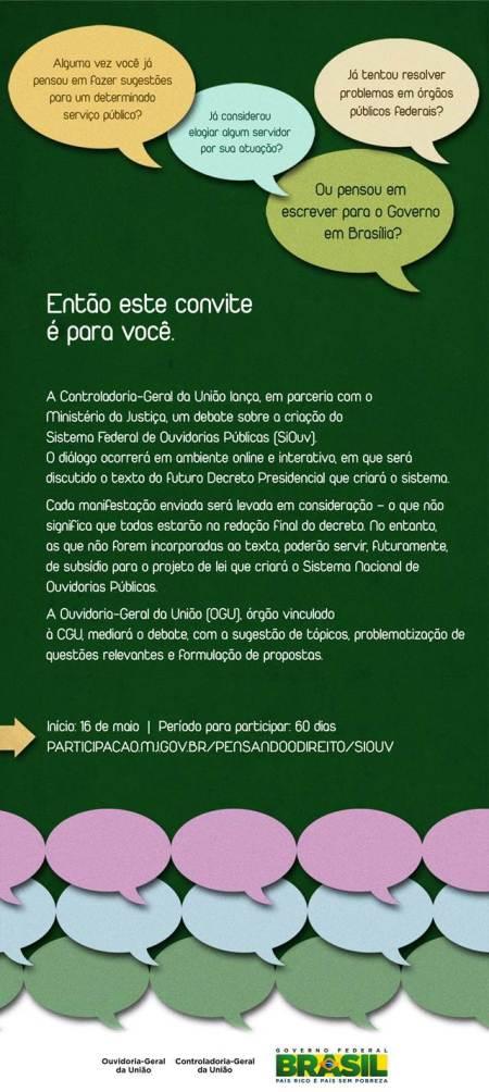 Consulta Pública - Participe do debate online sobre a criação do Sistema Federal de Ouvidorias